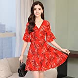GUO Women'S Kleider, Frauen Langen Chiffon-Kleid Frauen Slim-Bells Kurzärmeligen V-Kragen Sommerkleid,Rot,XL