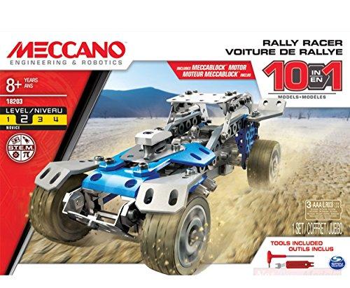 MECCANO MEC6040178 Auto Rally Racer con Motore MECCABLOCK A Batt.10 in 1 Model Compatibile con