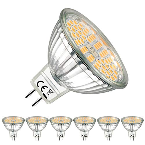 Bombillas LED GU5.3 2700K Blanco Cálido MR16 LED 12V 5W 500 Lúmenes Lámpara GU5.3 LED equivalente a Halógena de 60W. EACLL® 120 ° Luz Blanca Cálida Bombilla LED MR16, Pack de 6