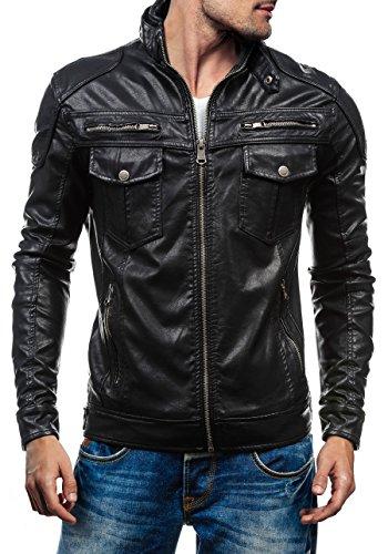 BOLF - Veste - Faux cuir - Fermeture éclair – MIX – Homme Noir_3051