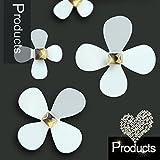 WALPLUS 3D, colore: bianco con fiori arte casa, ristorante, Autoadesivi rimovibili da parete, 25 x 18 x 3,5 cm, 12 pezzi