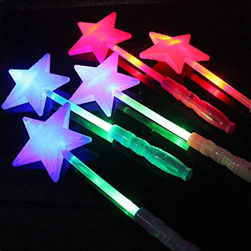 LED blinkender Stern Zauberstab, LED blinkend, bunt, magische Fee, Prinzessin, Stern, Glow Zauberstab für Mädchen, Geschenk für Weihnachten Free Size Zufällig