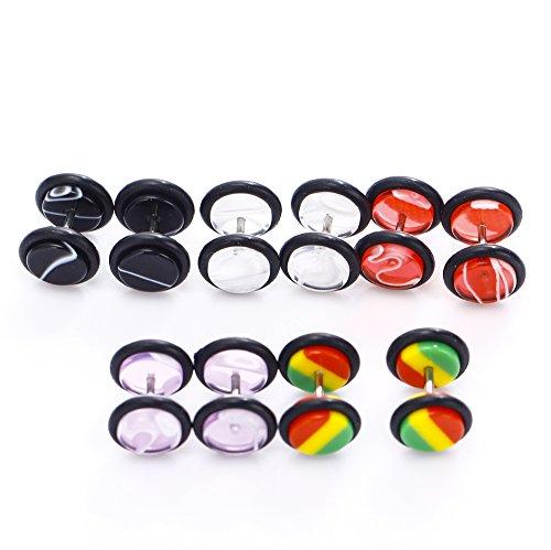 BODYA 10 Stück Marmor Design Doppel-O-Ringe Fake-Messgeräte Kit Fake Plugs 00 Gauges Look sortiert 5 Paare (Faux Acryl Marmor)