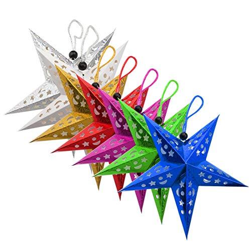 A-szcxtop Décorations de Noël à suspendre Étoile en papier Pentagram Ornement 7 pcs un ensemble Multicolore étoiles Abat-jour pour et pour les fêtes 30 cm/30 cm