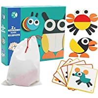 ICW Multi Coloured Creative Animal Geo Wooden Puzzles for Kids Age Group 2-6 & Preschool Kids with 2D Designs
