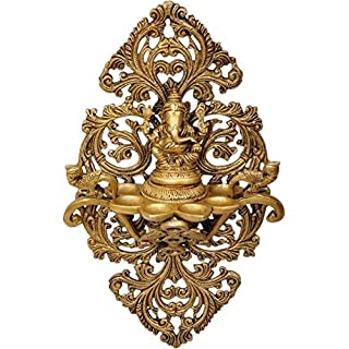 Aakrati Lord Ganesha Wall Deepak or Diya with Unique Carving and Ganesha Figurine Oil Deepak for Wall and Home Decoration