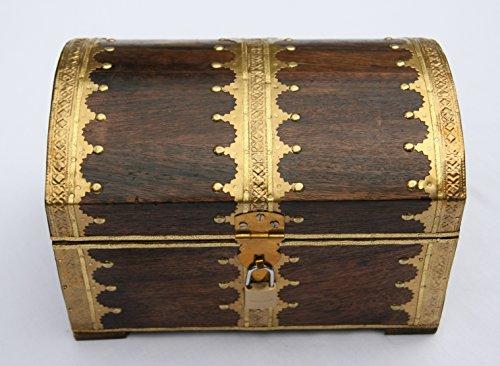 Schatztruhe Holz mit Vorhängeschloss, ideales Geschenk, 24x17x17cm - 3