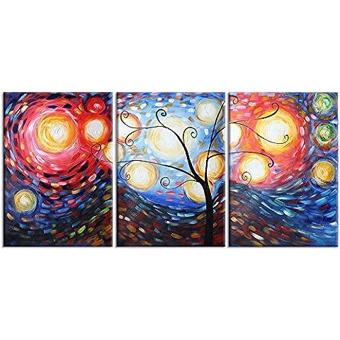 Raybre Art® Pittura a Olio 100% Dipinta a Mano Quadri Astratti su Tela Modern Albero della Vita Vari Colori per Decorazione della Parete di Arte Casa ( 3pz,Senza Telaio)