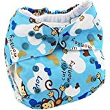 Reusable Baby Cloth Pocket Diapers One Size Adjustable Washable For Baby Girls And Boys Absorbent And No Leaks - B0737X87P2