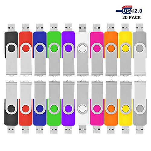 viekuu 1008GB USB 2.0Flash Speicher Daumen Sticks Drehgelenk 20PC Multicolors 8 gb