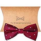 FLIEGENFAENGER rote (weinrote) Fliege gepunktet für Herren Anzug - gebunden und individuell verstellbar Schleife Accessoire für Männer inkl. Geschenkbox kombinierbar mit Einstecktuch