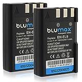 Blumax 2X Akku für Nikon EN-EL9/EN-EL9e/EN-EL9a 1000mAh | Kompatibel mit Nikon D40-D40X-D60-D3000-D5000