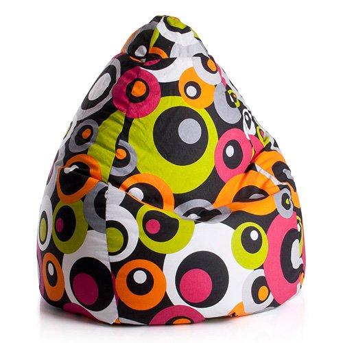 lifestyle4living Sitzsack in bunt mit Kreisen, Material 100% Baumwolle - Cretonne, Beanbag Malibu...