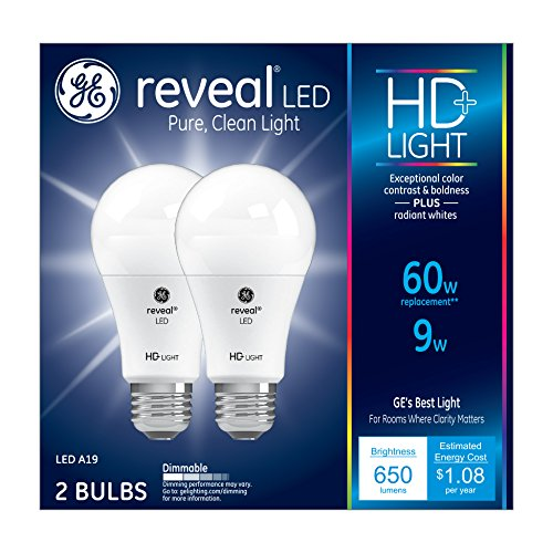 GE Lighting Reveal LED 9-watt (60-watt Replacement), 650-Lumen A19 Light Bulb with Medium Base, 2-Pack