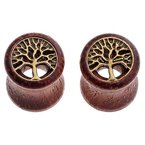 JOVIVI Pair Sono Wood & Brass Tree Of Life Inlay