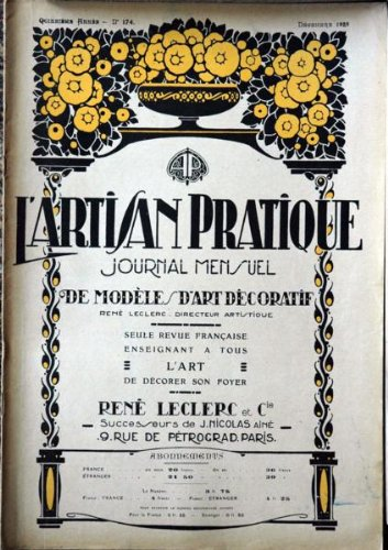 ARTISAN PRATIQUE [No 165] du 01/03/1923 - GRAVURES ET DESSINS - METAL - BOIS - CRISTALLERIE - CUIR - PATE TENDRE EMAILLEE - BATIK.
