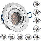 10er LED Einbaustrahler Set mit LED GU10 Markenstrahler - dimmbar - von LEDANDO - 5W - schwenkbar - warmweiss - 60° Abstrahlwinkel - A+ - 50W Ersatz - Bicolor Alu