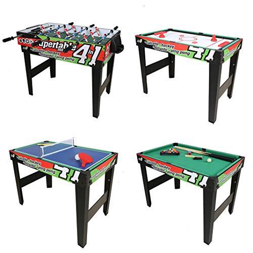 homelikesport Mesa de Juego 4 en 1 para Fútbol Honkey Ping Pong Billa