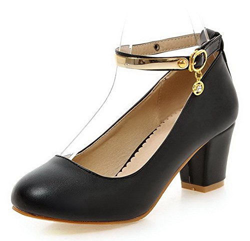 AgooLar Femme Couleur Unie Pu Cuir à Talon Correct Rond Boucle Chaussures Légeres Noir