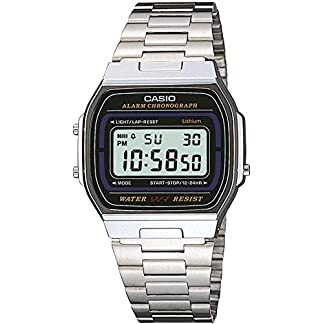 Casio Casio Collection – Reloj digital unisex de cuarzo con correa de acero inoxidable plateada (cronómetro, alarma, luz)