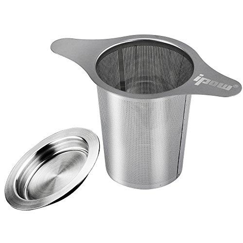 Ipow infusore con due maniglie per tè/tisane 304 acciaio inox setaccio/colino/filtro indossabile con coperchio per allentati foglia verde tazze da tè, tazze, e teiere