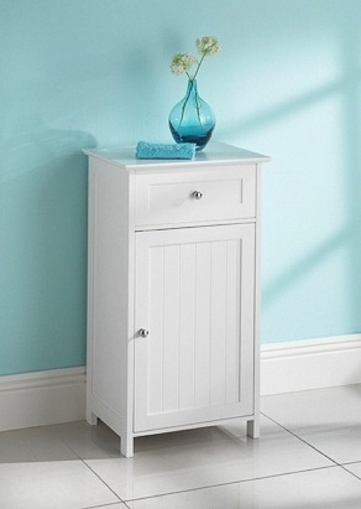 Maine White Narrow Bathroom Storage Cabinet With 1 Drawer and 1 ...