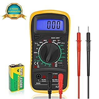 Digital Multimeters Car Battery Circuit Multi Tester Voltmeter Ammeter Ohmmeter AC/DC Voltage DC Current Resistance Diodes Transistor Continuity Electrical Test Meter with Test Leads Backlight LCD