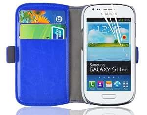 Galaxy S3 Mini Hülle, JAMMYLIZARD Luxuriöse Flip Cover Ledertasche mit Kartenfach für Samsung Galaxy S3 Mini, BLAU