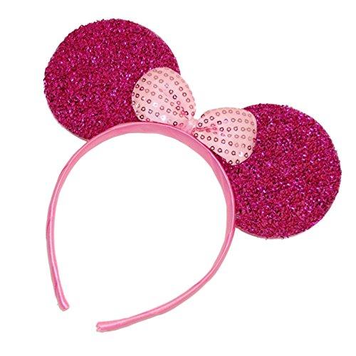 Pinker Haarreif mit Glitzernden Maus-Ohren Haarreif Kostümzubehör (Halloween En Paris Disneyland)