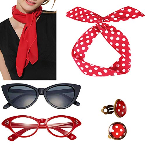 Seawhisper 50er Jahre Kostüm Damen Rockabilly Accessoires Frauen Halloween Accessoires Rot Chiffontücher Katze Brille Ohrringe Haarband