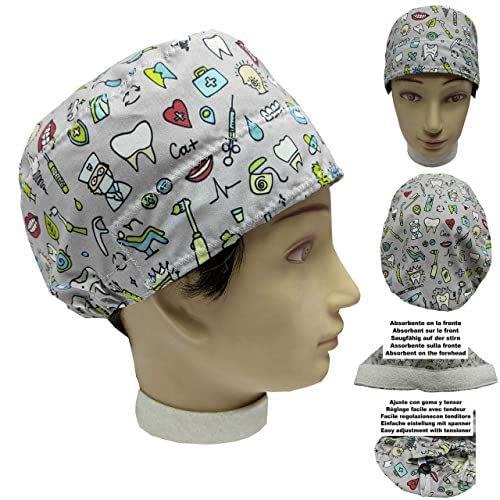 Cappellino da dentista ODONTOIATRIA INTRUMENTALE per Capelli Corti UNISEX con assorbente sul lato anteriore e tenditore regolabile facile e confortevole