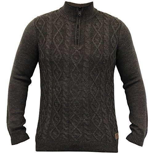 Hommes Laine Mélange Sweatshirt Threadbare Pull Tricot Jacquard Pull-over Fermeture Éclair Hiver Neuf Chocolate - IMV134PKA
