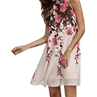Sannysis falda mujer Vestidos cortos de verano, Cuello redondo floral, Sin mangas