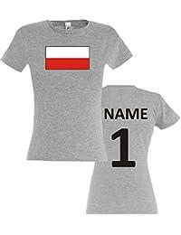 ee1630c7ea532 Mujer Camiseta T-Shirt Polonia Camiseta de País con el Nombre Deseado y  Número