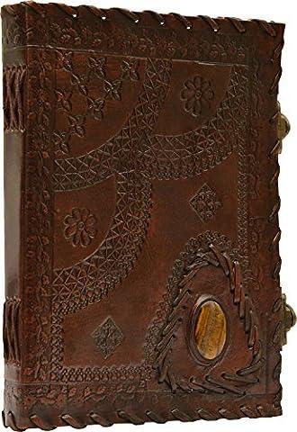 Imperial Leather Journal Notebook Decorated with One Big Gem | Imperiale Lederjournal Notizbuch verziert mit einem großen Edelstein
