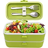 Veggycook Bento Lunchbox Scatola Pranzo 1200ml Due comparti con guarnizioni ermetiche Posate in Acciaio Inox Incluso Lunch Box Ideale per Bambini e Adulti (Verde)