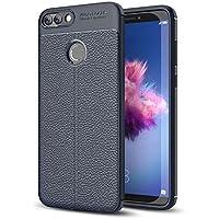 "SsHhUu Funda Huawei Enjoy 7S, TPU Patrón de Textura de PU Cuero Protector de Silicona Anti-Scratch Resistente a Golpes Moda Funda Delgada para Huawei Enjoy 7S Fig-LX1 Fig-LA1 Fig-LX2 (5.65"") Marino"
