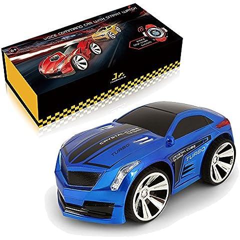 SainSmart Jr. VC-03 Comando de voz de coches, recargable del control de radio por Smart Watch, creativo activado por la voz del coche de RC, que deslumbra Los faros y Super Frenos, Azul