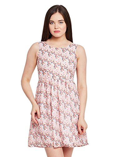 The Vanca Women Front cut out flared dress in red print with gathers at waist  available at amazon for Rs.304