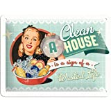 Nostalgic-Art 26139 Say it 50's - A Clean House is a Sign of a Wasted Life, Blechschild 15x20 cm