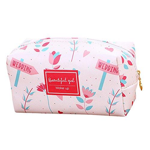 Trendy Haute Qualité Femmes Sac De Rangement Petit Portefeuille Mignon Sac De Voyage Cosmétique Sac (Blanc + Fleur Rose)