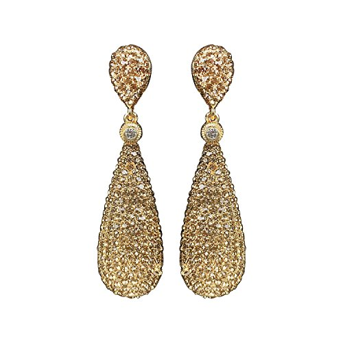Yellow Chimes Golden Crystal Dangler Fancy Earrings for Women and Girls