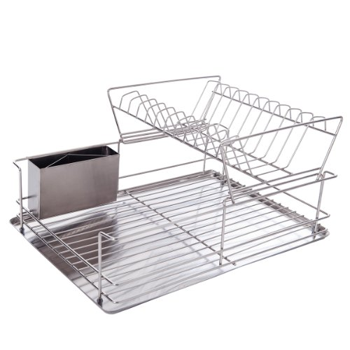 DXP 2 Tier Dish Drainer Dish Rack for 10 Dishes Plates with Drip Tray and Drain Cutlery Holder Stainless Steel New JLS02