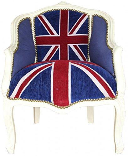 Barock Damen Salon Sessel Union Jack/Creme - Antik Stil Sessel mit England Flagge