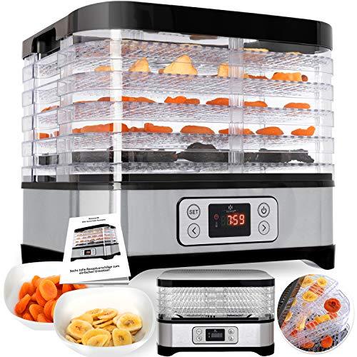 Kesser Dörrautomat mit digitaler LCD Temperaturregler, Ink.Rezeptheft Dörrgerät für Lebensmittel, Obst- Fleisch- Früchte-Trockner, Dehydrator, BPA-frei, 5 Etagen 250W/LCD Edelstahl Silber