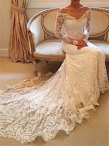 Annxrose Damen Lange Ärmel Off-The-Schulter Tüll Spitze Appliques Meerjungfrau Brautkleid Hochzeitskleid Elfenbein 32 - 3