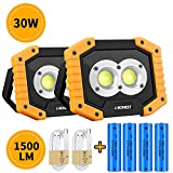 Rechargeable Work Light, Portable 30W 1500LM Flood Light Waterproof LED Work Lamp with 3 Modes for Camping Car Repairing Hiking
