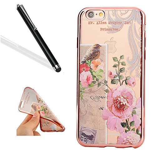 Preisvergleich Produktbild iPhone 6S Plus Silikon Handy Hülle,Leeook Elegant Retro Floral Schön Vogel Rosa Blume Crystal Soft Clear Case Electroplate Plating Rose Gold Frame Scratch-Resistant Bumper Soft Rückseite Cover Tasche Ultradünne Galvanisiergeräte Weicher Gel TPU Tasche Schutzhülle Hülle Tasche für Apple iPhone 6 Plus / 6S Plus (5.5 Zoll) + 1 x Schwarz Eingabestift-Bird Pink Flower