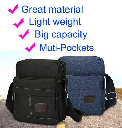 Super modernes Herren und Damen kleine Vintage Canvas Umhängetasche Messenger Bag Cross-Body-Tasche Organizer Multi Taschen Schultertasche Grau