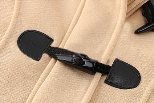 Damen's Casual Winter lange Ärmel mit Reißverschluss Trench Pea Coat Outerwer Jacket Licht tan 2